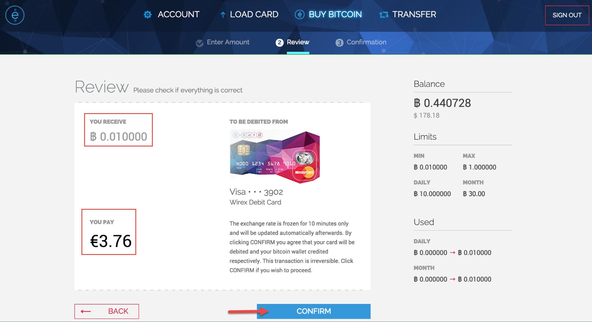Proceso de compra de Bitcoin con WIREX 03