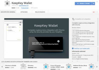 KeepKey Wallet en la Chrome Web Store