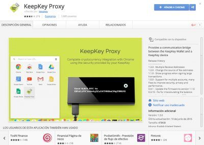 KeepKey Proxy en la Chrome Web Store