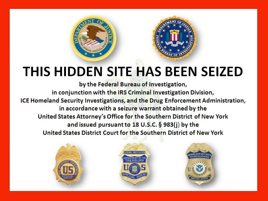 Pantalla de bloqueo del sitio de Silk Road durante la investigación por parte del Departamento de Justicia de EEUU